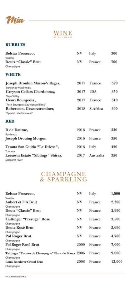 wine menu - mia restaurant